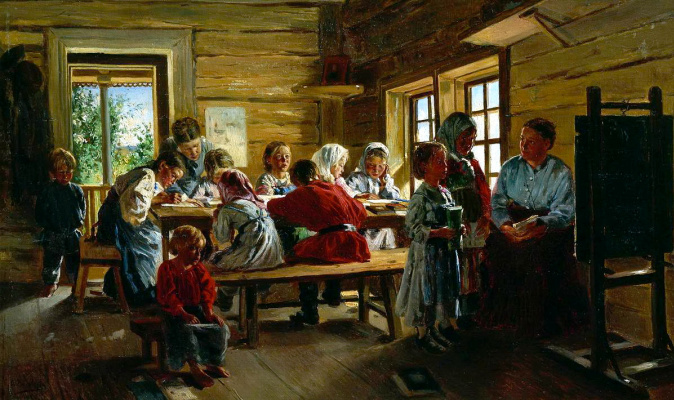 Vladimir Egorovich Makovsky. In a rural school