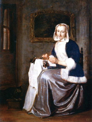 Gabrielle Metsu. The Lacemaker