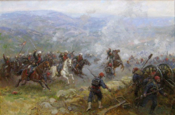 Aleksandr Chagadaev. Attack of horse grenadiers under the mountain Dubnyak