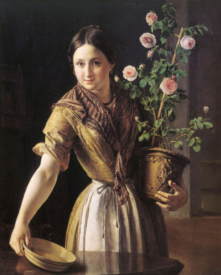 Vasily Andreevich Tropinin. Girl with a pot of roses