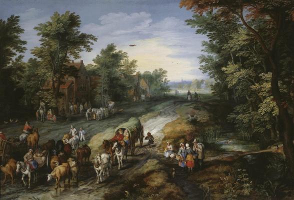 Jan Bruegel The Elder. The road around the big city. 1611