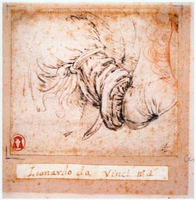 "Leonardo da Vinci. Sketch sleeve for ""Annunciation"""