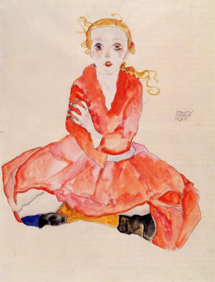 Egon Schiele. The girl in the red dress