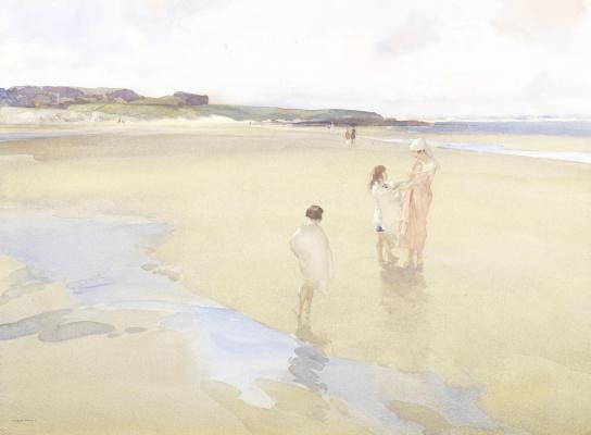 William Russell Flint 1880 - 1969 Scotland. Extensive beach, Bamburgh.