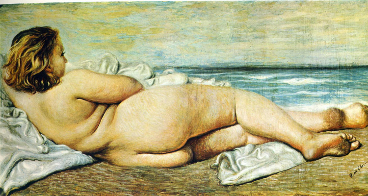 Джорджо де Кирико. Лежащая на берегу обнаженная