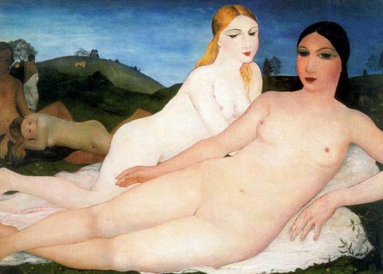 Paul Delvo. Naked girls in a meadow