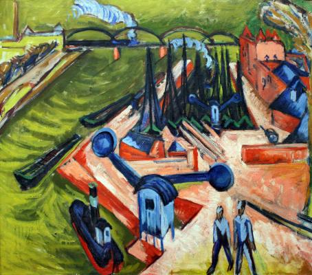 Ernst Ludwig Kirchner. The West harbour in Frankfurt am main