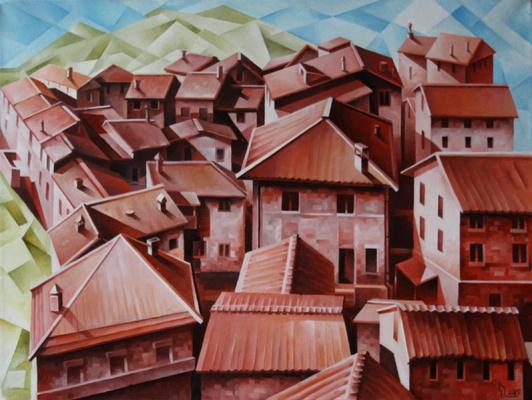 Vasily Krotkov. Tuscany. Kubofuturizm
