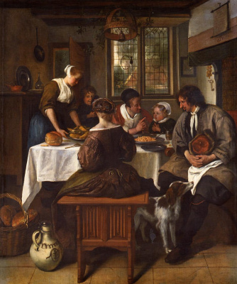 Jan Steen. Family meal
