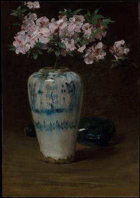 William Merritt Chase. Pink Azalea in a Chinese vase