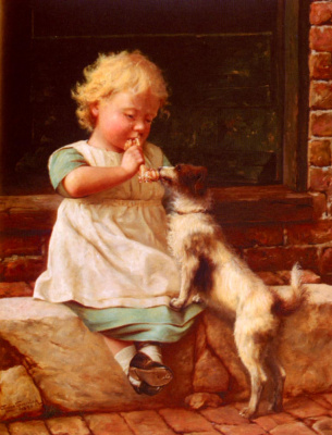 Чарльз Спенселей. Маленькая девочка и ее собака