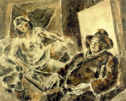 Arturo Souto. Half-naked woman and the man in the hat