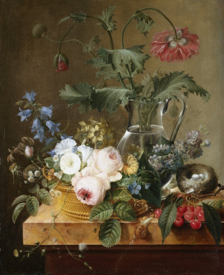 Pierre-Joseph Redoute. Still life with red anemones in a glass jug, a basket of flowers, cherries and a bird's nest