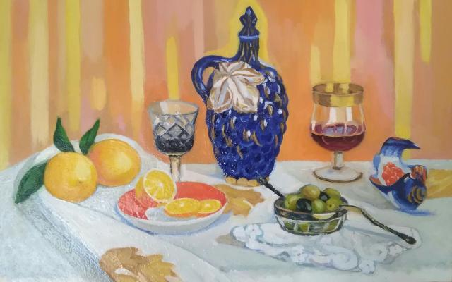 Elena Anatolyevna Seyfi. Still life with lemons