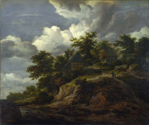 Jakob van Isaacs Ruisdael. Rocky hill with three houses and a stream at the foot