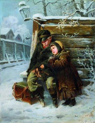 Konstantin Makovsky. The little organ-grinders near the fence in winter