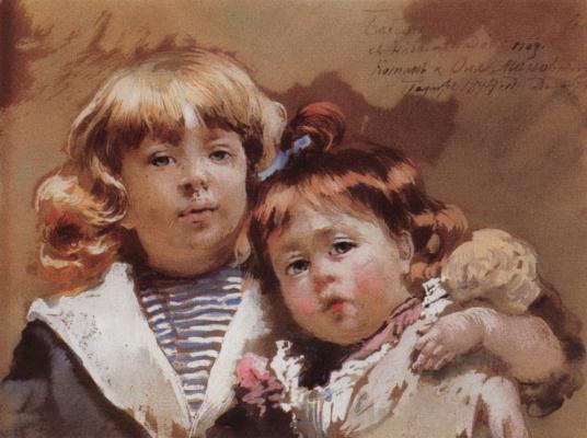 Konstantin Makovsky. Konstantin and Olga Makovsky. Shows children To .E. Makovsky from the marriage with M. A. Matatini