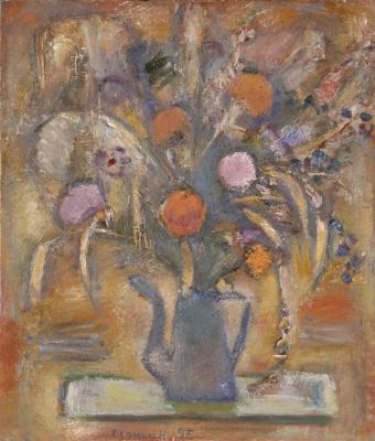Herman Pavlovich Yegoshin. Flowers in blue coffee pot