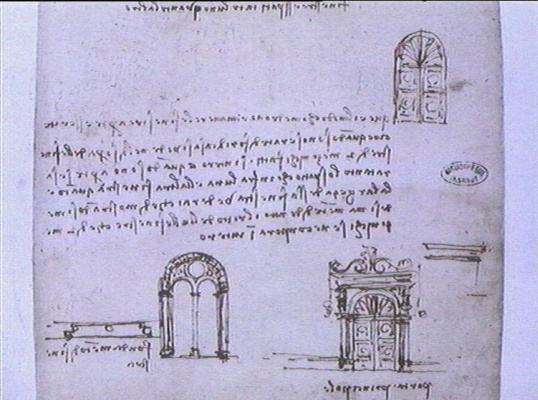 Leonardo da Vinci. Sketches of doors and Windows