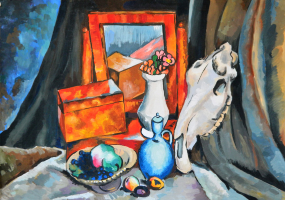 Елизавета Александровна Рыбина. Still life with a horse skull - a copy of the work of Ilya Mashkov