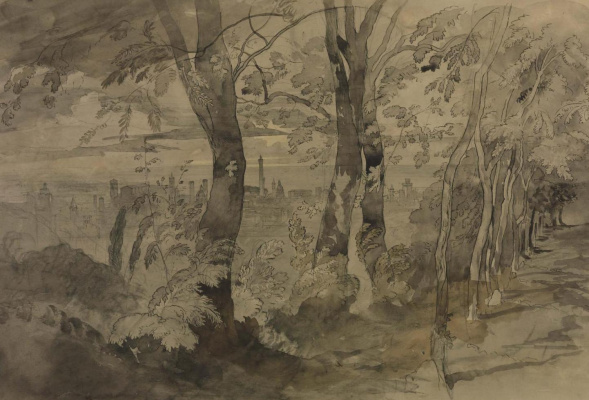 Джон Рёскин. Пейзаж с видом на Болонью