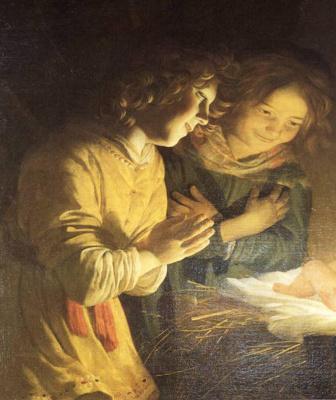 Gerard van Honthorst. Worship the baby