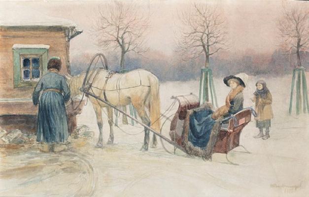 Иван Алексеевич Владимиров. У водопоя (Дама в санях)