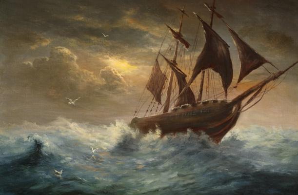 Станислав Побытов. Silhouette a schooner