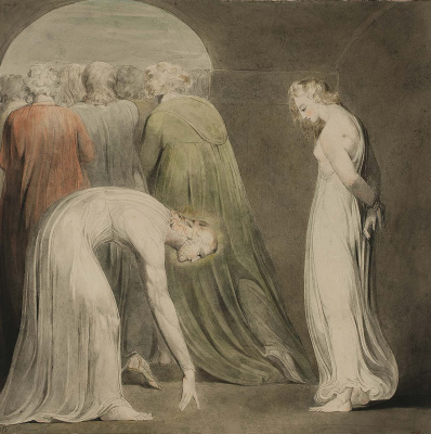 William Blake. Illustrations of the Bible. The woman caught in adultery