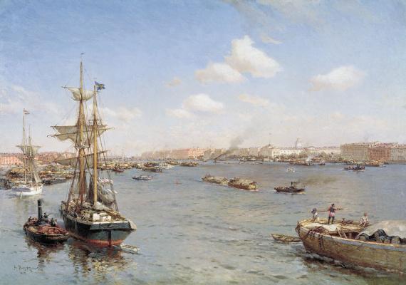 Александр Карлович Беггров. Петербург. Вид на Неву. 1912