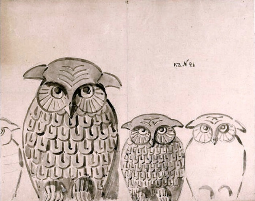 Elena Dmitrievna Polenova. Owls. Ornament for carving.
