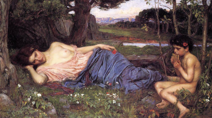 John William Waterhouse. Listening to the sweet songs of the flute