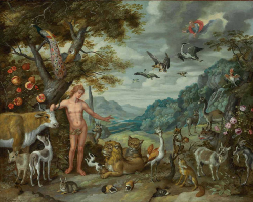 Jan Brueghel the Younger. The Story of Adam and Eve: Adam Names the Animals