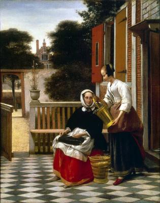 Pieter de Hooch. Mistress and her maid