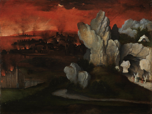 Joachim Patinir. Landscape with the burning Sodom and Gomorrah