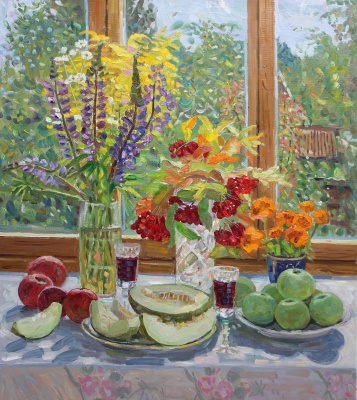 Eugene Alexandrovich Kazantsev. Still life melon, viburnum, apples.