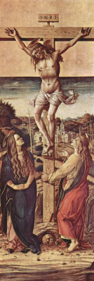 Carlo Crivelli. The crucifixion with the Virgin and Saint John the Evangelist