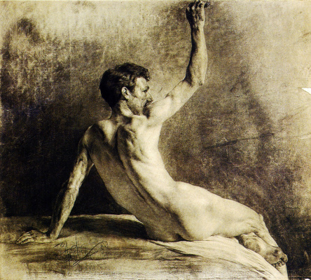 Anton Azhbe. Sitting naked from the back