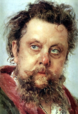 Ilya Efimovich Repin. Portrait of the composer M. P. Musorgsky. Detail