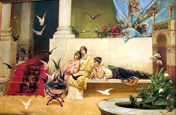 Wilhelm Kotarbinsky. The song of the slave girls (Feeding pigeons)