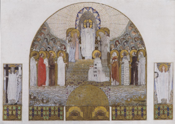 Koloman Moser. Am Steinhof Church,  Mosaic design for the main altar