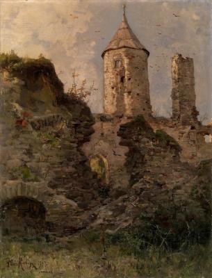 Julius Klever. View of Haapsalu castle, Estonia