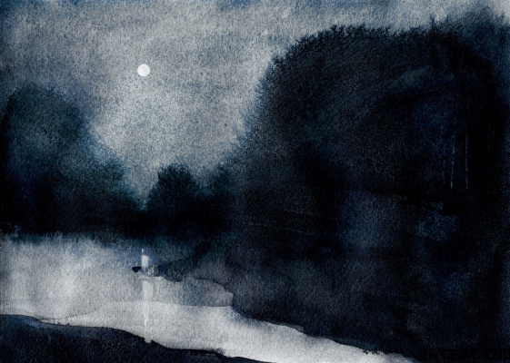 CEA 73. Lake under the moon  sketch