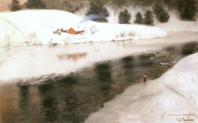 Frits Thaulow. Winter river