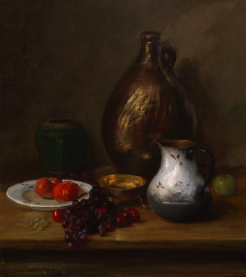 Уильям Меррит Чейз. Натюрморт с фруктами и кувшином