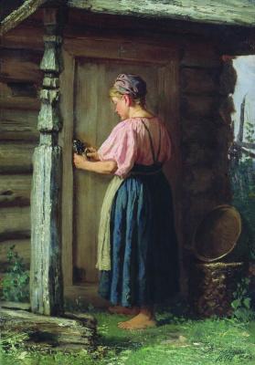 Василий Максимович Максимов. Девушка у амбара. 1874