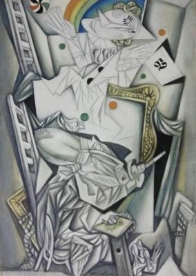"""Виталий Михайлович Волович. An artist painting a clown. Series """"My workshop"""""""