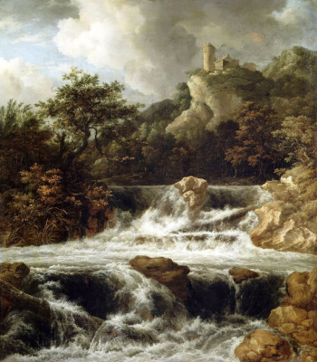 Jakob van Isaacs Ruisdael. Landscape with a waterfall and a castle on a cliff