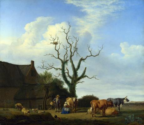 Adrian van de Velde. Farm with a dead tree