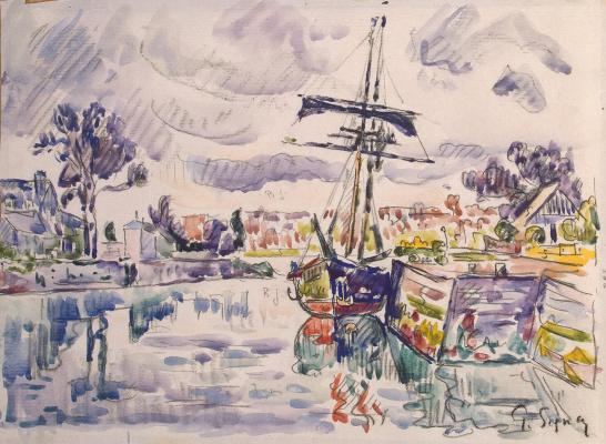 Paul Signac. Sailboat at the dock